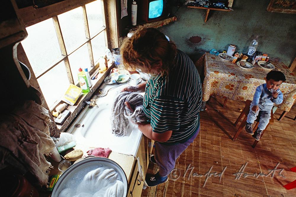 Wolle waschen in der küche